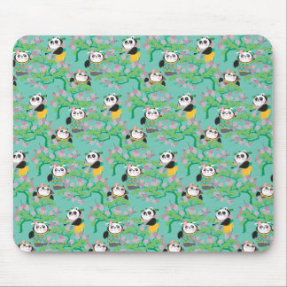Teal Floral Panda Pattern Mouse Pad