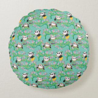 Teal Floral Panda Pattern Round Pillow