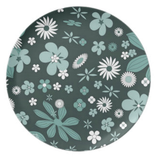 Teal Floral Pattern Party Plates