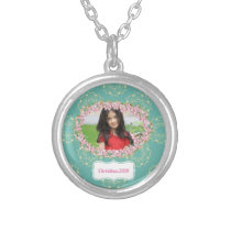 Teal Floral Pattern Personalized Framed Photo Silver Plated Necklace
