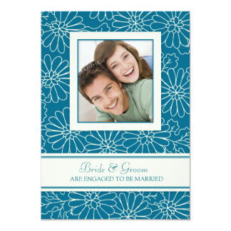"Teal Floral Photo Engagement Party Invitations 5"" X 7"" Invitation Card"