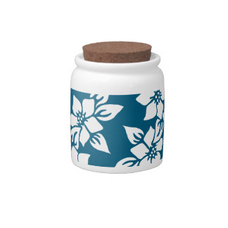 Teal Floral Print Candy Dish