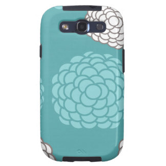 Teal Floral Print Samsung Galaxy S3 Covers