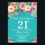 "Teal Floral Surprise 21st Birthday Invitation<br><div class=""desc"">Teal Floral Surprise 21st Birthday Invitation for Women. Watercolor Floral Flower. Teal Aqua Turquoise Background. Pink, Yellow, Orange, Purple Flower. Adult Birthday. 13th 15th 16th 18th 20th 21st 30th 40th 50th 60th 70th 80th 90th 100th, Any Ages. For further customization, please click the ""Customize it"" button and use our design...</div>"