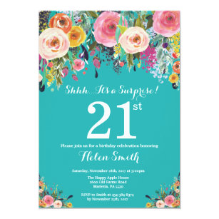Teal Floral Surprise 21st Birthday Invitation