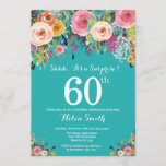 """Teal Floral Surprise 60th Birthday Invitation<br><div class=""""desc"""">Teal Floral Surprise 60th Birthday Invitation for Women. Watercolor Floral Flower. Teal Aqua Turquoise Background. Pink, Yellow, Orange, Purple Flower. Adult Birthday. 13th 15th 16th 18th 20th 21st 30th 40th 50th 60th 70th 80th 90th 100th, Any Ages. For further customization, please click the """"Customize it"""" button and use our design...</div>"""