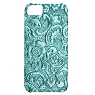 Teal floral textured print for I Phone case. PJ. Case For iPhone 5C