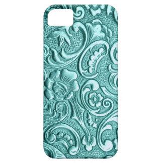 Teal floral textured print for I Phone case. PJ. iPhone SE/5/5s Case