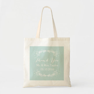 Teal Floral Thank You Wedding Tote Budget Tote Bag