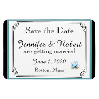 Teal Floral Watercolor Wedding Save the Date Magnet