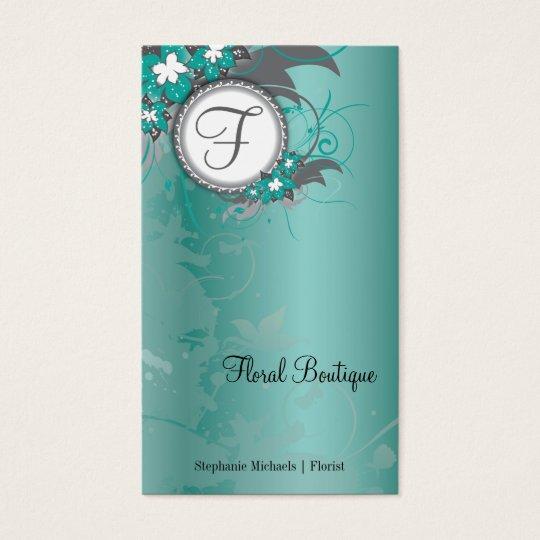 Teal Floral Wedding Elegant Business Card Monogram