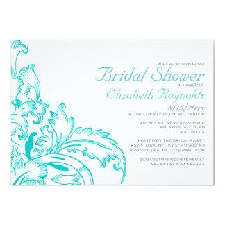 Teal Flourish Bridal Shower Invitations