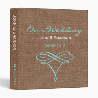 Teal Flourish on Rustic Burlap - Wedding Album Binder