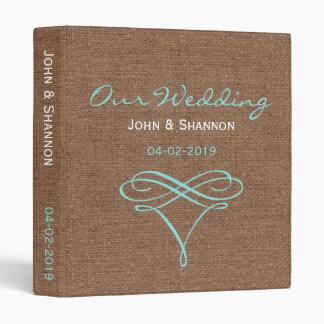 Teal Flourish on Rustic Burlap - Wedding Album Binder