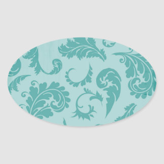 Teal Flourish Turquoise Damask Floral Wallpaper Oval Sticker