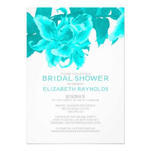 Bridal shower invitations bridal shower invitations teal for Flower bridal shower invitations