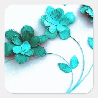 Teal Flower by Robert E Meisinger 2013 Square Sticker