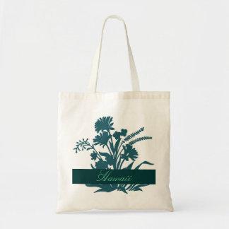 Teal flower Hawaii reusable souvenir bag