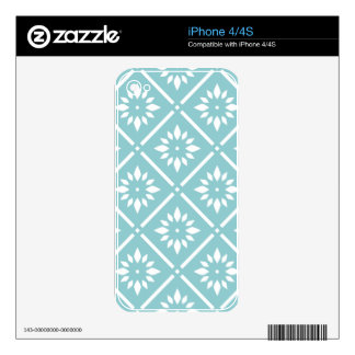 teal,flower,pattern,floral,trendy,modern,chic,beau skins for iPhone 4S
