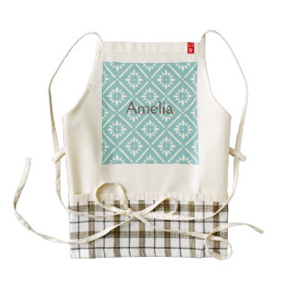 teal,flower,pattern,floral,trendy,modern,chic,beau zazzle HEART apron