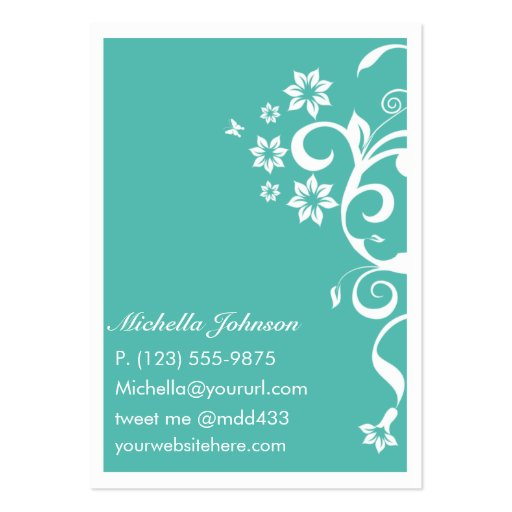 Teal Flower Personal QR Large Business Card