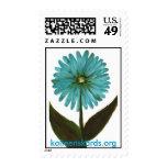 teal flower postage