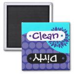 Teal Flower Purple Clean Dirty Dishwasher Magnet