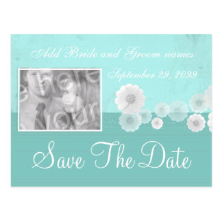 Teal Flower Save the Date Photo Invitation Postcard