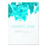 Teal Flower Wedding Invitations Announcement