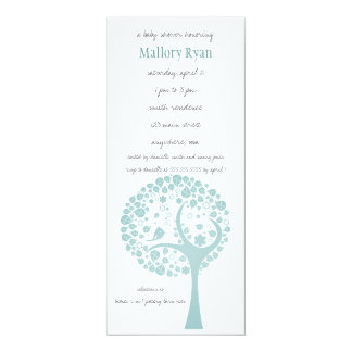Teal Flowering Tree Baby Shower Invitation