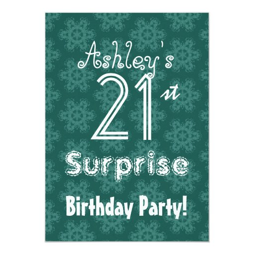 teal flowers 21st surprise birthday template card zazzle. Black Bedroom Furniture Sets. Home Design Ideas