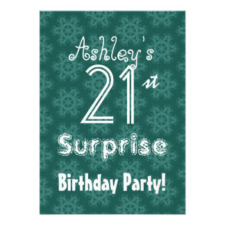 Teal Flowers 21st Surprise Birthday Template Personalized Invitation