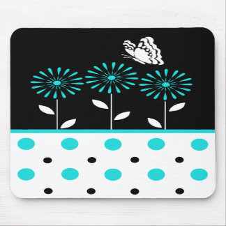 Teal Flowers and Polka Dot Mousepad