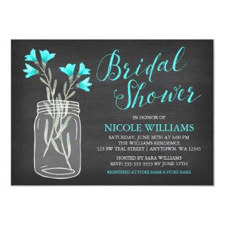Teal Flowers Mason Jar Chalkboard Bridal Shower Card