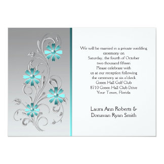 Teal Flowers on Silver Post Wedding 5.5x7.5 Paper Invitation Card