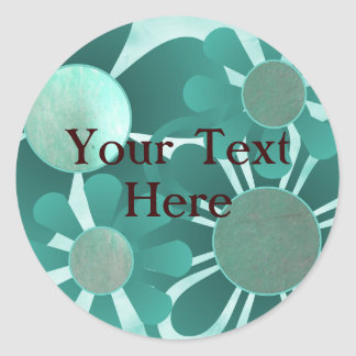 Teal Flowers Stickers