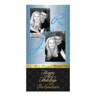 Teal Foil Lace Holiday Gold Ribbon Photo Card