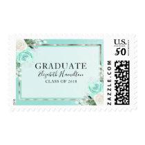 Teal & Foil Silver Modern Floral Graduation Postage