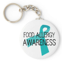 Teal Food Allergy Awareness Teal Ribbon Keychain