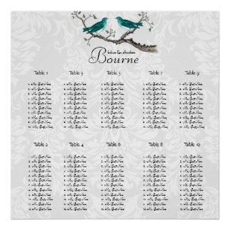 Teal Forest Love Bird Seating Chart Poster