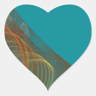 Teal Fractal Background Heart Sticker