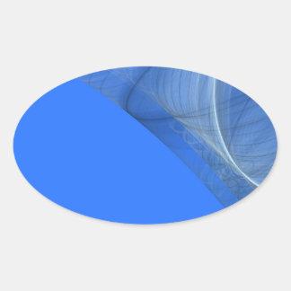 Teal Fractal Background Oval Sticker