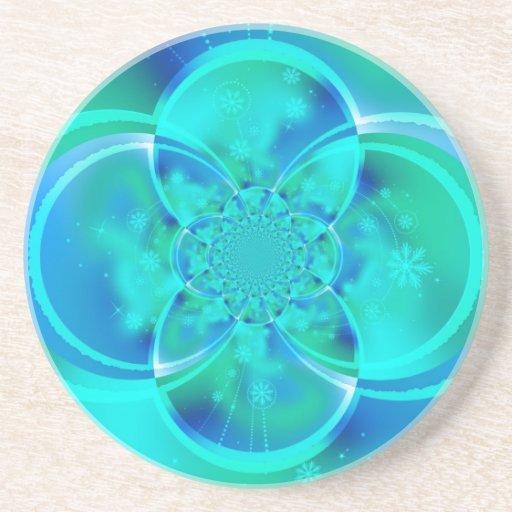 Teal Fractal Coaster