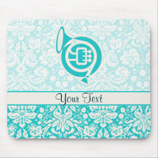 Teal French Horn Mouse Pads