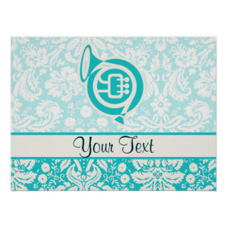 Teal French Horn Print