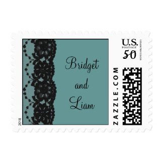 Teal French Lace Wedding Stamp