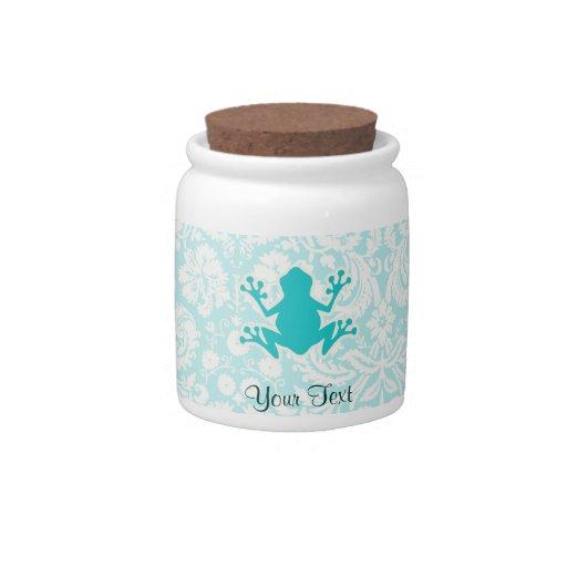 Teal Frog Candy Jars