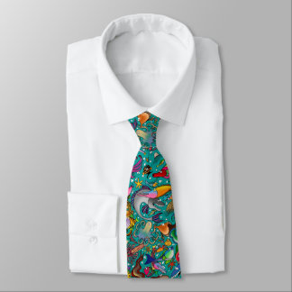 "Teal ""Funny Fish"" Tie"