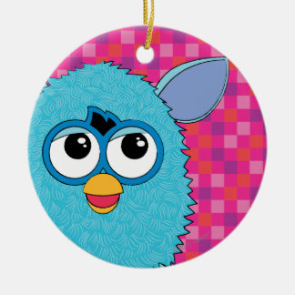 Teal Furby Double-Sided Ceramic Round Christmas Ornament