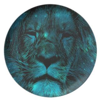 Teal Galaxy Lion Print Melamine Plate